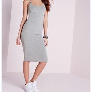 NWT MIssguided strappy Jersey midi dress gray S